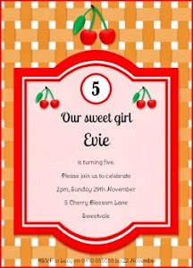 Cherry Party Invitation - Pink
