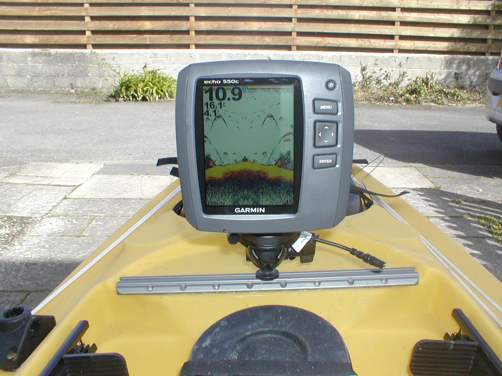 Cornish Shore And Kayak Fisherman Fitting A Fish Finder Garmin 300c Fishfinder Wiring Diagram Echo 550c