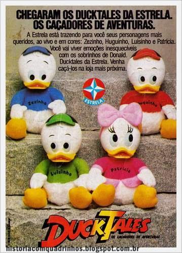 Propaganda dos bichos de pelúcia com os personagens do desenho animado Duck Tales. Propaganda de 1988.