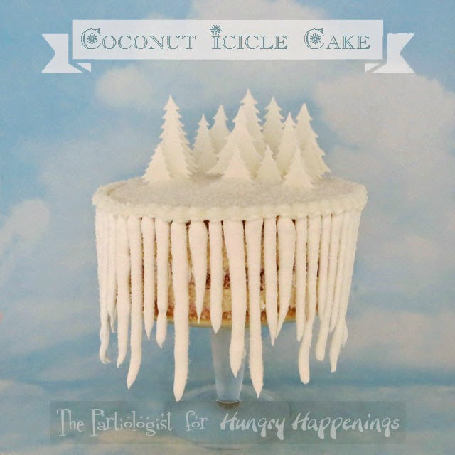 Coconut Icicle Cake - See how to transform homemade coconut cake with coconut buttercream into this winter wonderland by The Partiologist for HungryHappenings.com