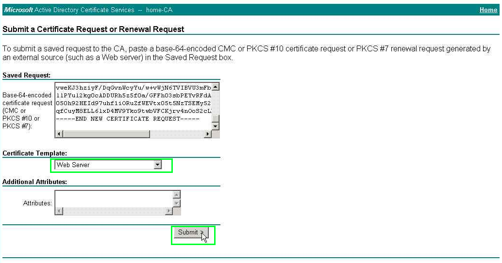 Uc guide march 2013 paste the contents of the file request in the space saved request and select the certificate template web server and click submit yadclub Choice Image