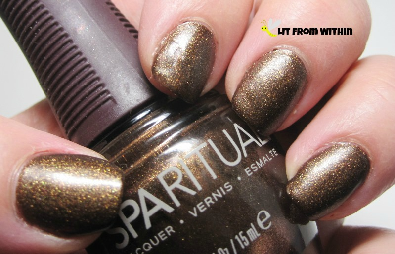 SpaRitual Starry Night, a matte brown glitter polish