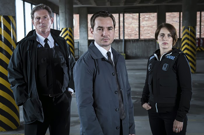 Superintendent Ted Hastings (ADRIAN DUNBAR), Detective Sergeant Steve Arnott (MARTIN COMPSTON), Detective Constable Kate Fleming (VICKY McCLURE) in Line of Duty, BBC2