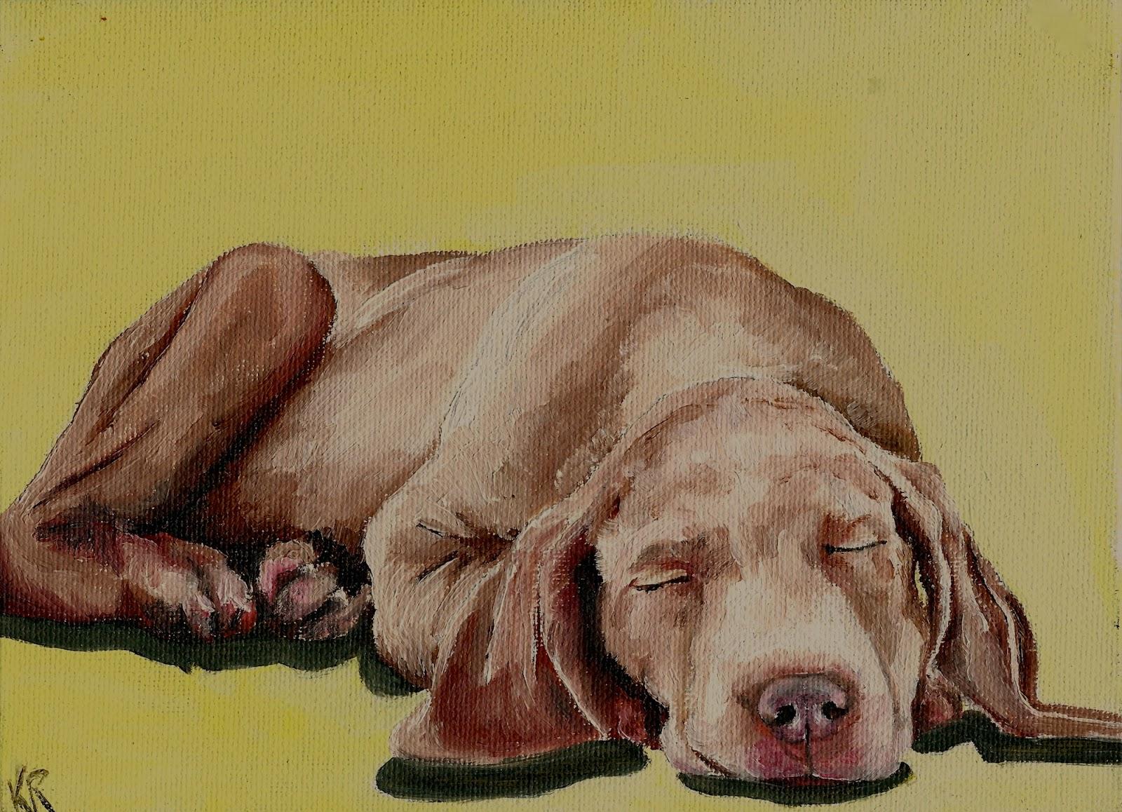weimaraner oil painting. Pet portrait.
