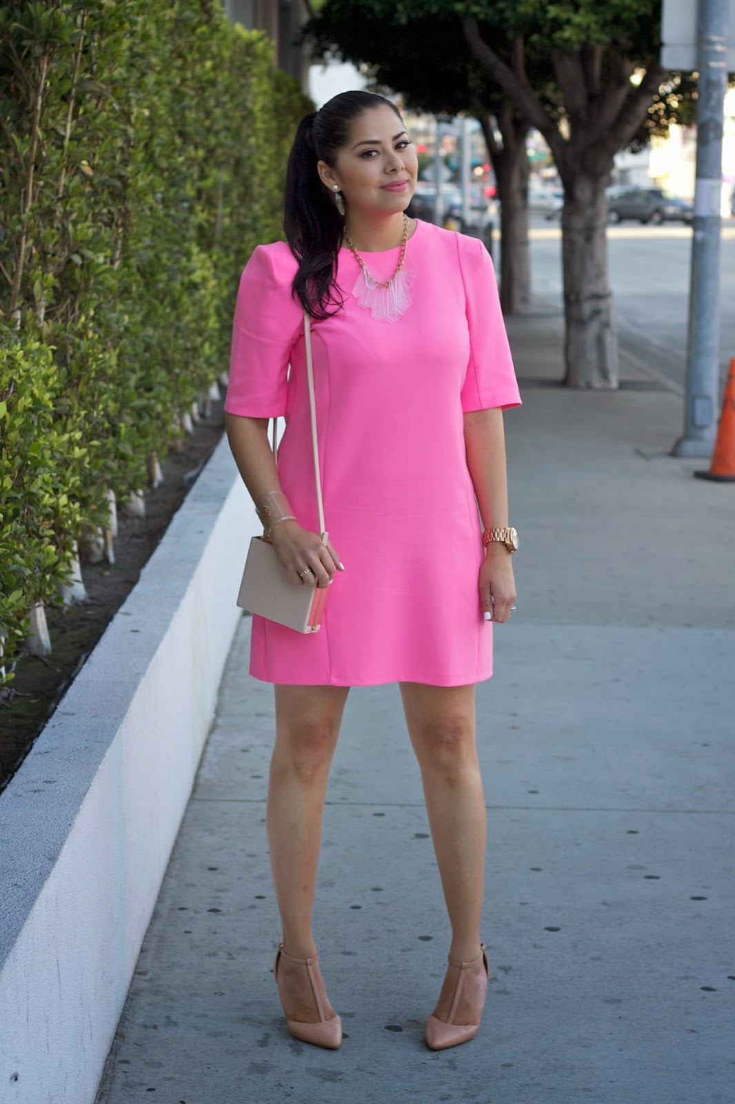 Hot Pink Sheat Dress with Nude, River Island Hot Pink Sheat Dress
