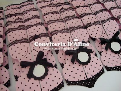 convites chá de lingerie rosa preto