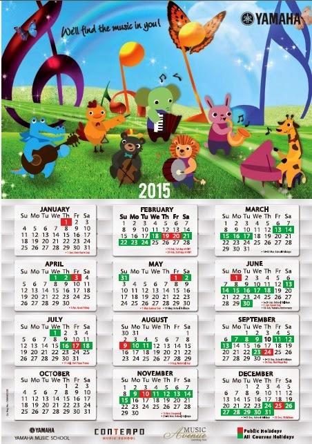 Yamaha Music School Malaysia Calendar