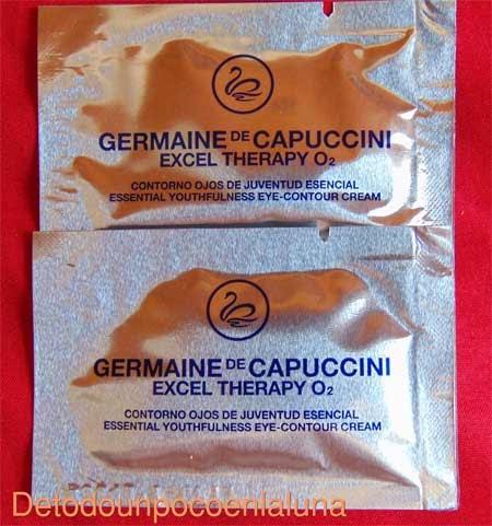 Muetras de Excel Therapy O2 de Germaine de Capuccini facilitadas por Salón de Belleza Ro & Che's en Madrid