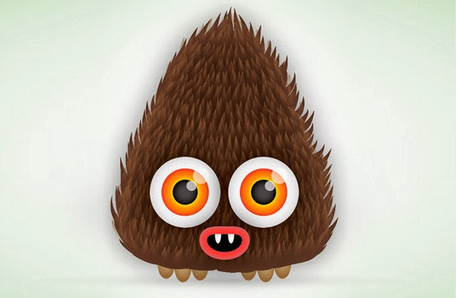 A Cute Hairy Vector Monster Character