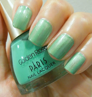 Golden Rose minty jade green over China Glaze Cherish