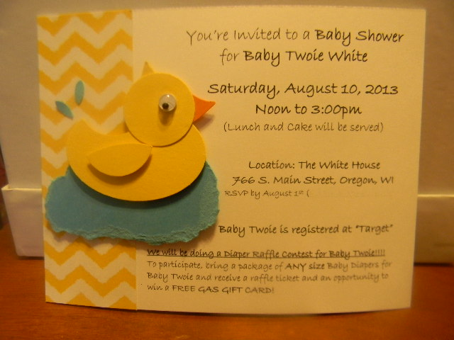 Kards by kadie twoies baby shower invitations i used some retired chevron designer series paper from stampin up for the front of my card and then printed out all the details of the shower on my filmwisefo