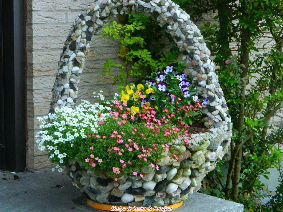 Beautiful Flower Basket in Garden