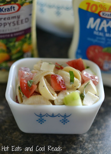 This delicious pasta salad is loaded with cucumbers, strawberries, tomatoes and fresh mozzarella! Perfect for any summertime meal, especially when grilling! Creamy Poppyseed Pasta Salad from Hot Eats and Cool Reads