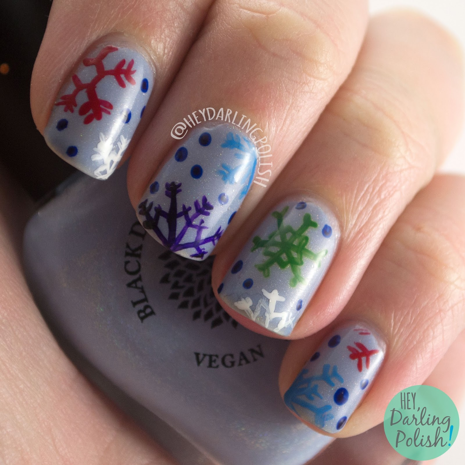 nails, nail art, nail polish, snowflakes, colorful, pattern, winter, hey darling polish, nail linkup