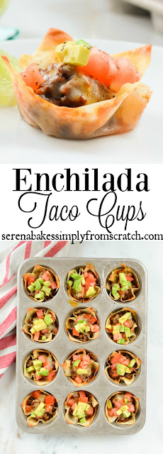 Enchilada Taco Cups are a favorite snack or dinner for Taco Tuesdays! The perfect munchies for your Super Bowl party! An easy to follow recipe with step by step photo instructions!