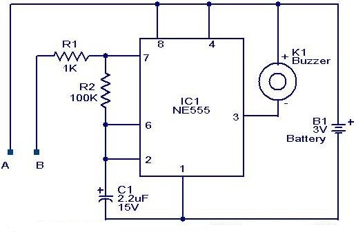 NE 555 Water Level Alarm Circuit