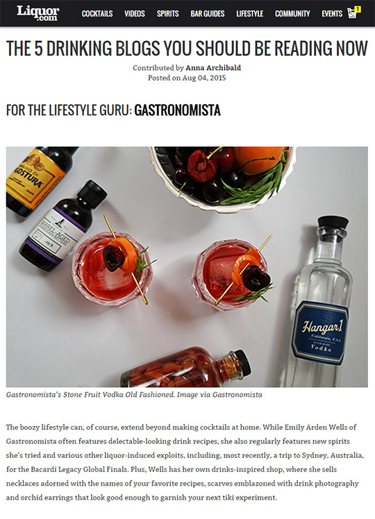 Gastronomista: Top Drinking & Cocktail Blog