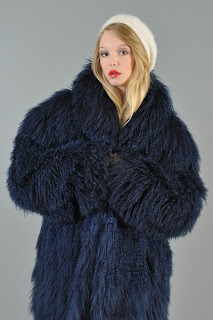 Vintage 1980's fluffy blue shaggy Mongolian lamb fur coat