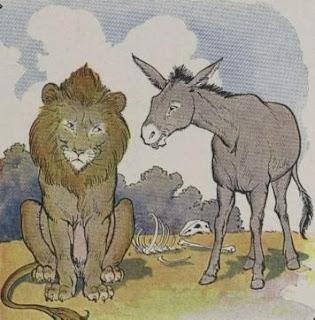 Fábula el León y el Asno con moraleja