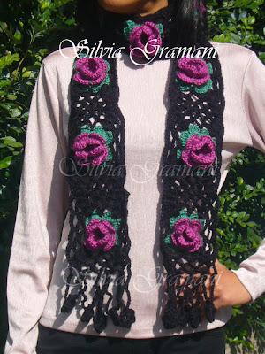 croche, cachecol de flores, flores de croche, cachecol de flores de croche, moda feminina, cachecol em lã