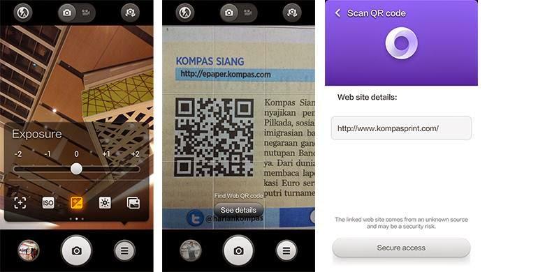Mod aplikasi kamera Redmi 1S (kiri), dan proses scanning QR Code, langsung dari dalam aplikasi