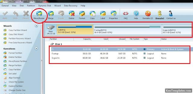 Sử dụng phần mềm chia lại ổ cứng – Tăng dung lượng ổ C (ổ cài hệ điều hành) không làm mất dữ liệu