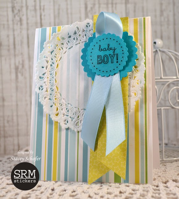 SRM Stickers Blog - Pair of Punched Pieces Cards by Stacey - #baby #cards #punched pieces #stickers #doilies