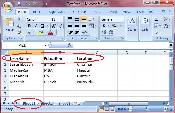 ImportUpload Excel Data to AspGridview in C VBNET ASP – Excel Worksheet Name