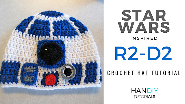 R2-D2 crochet hat tutorial free pattern star wars r2d2