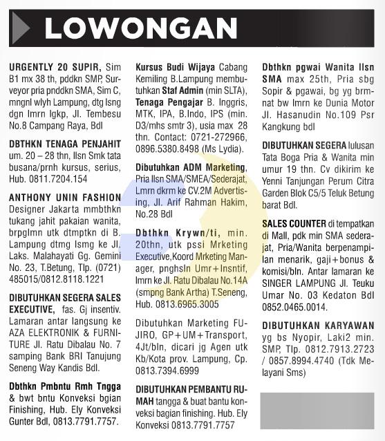 Lowongan Kerja Baris Lampung Post 26 September 2015 ...