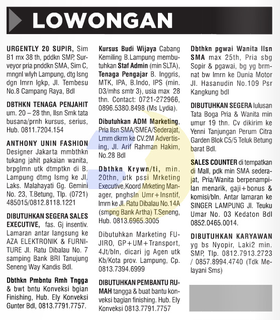 Lowongan Kerja Baris Lampung Post 26 September 2015