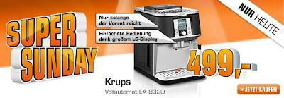 Saturn-Super-Sunday: Kaffee-Vollautomat Krups EA 8320 Falcon für 499 Euro