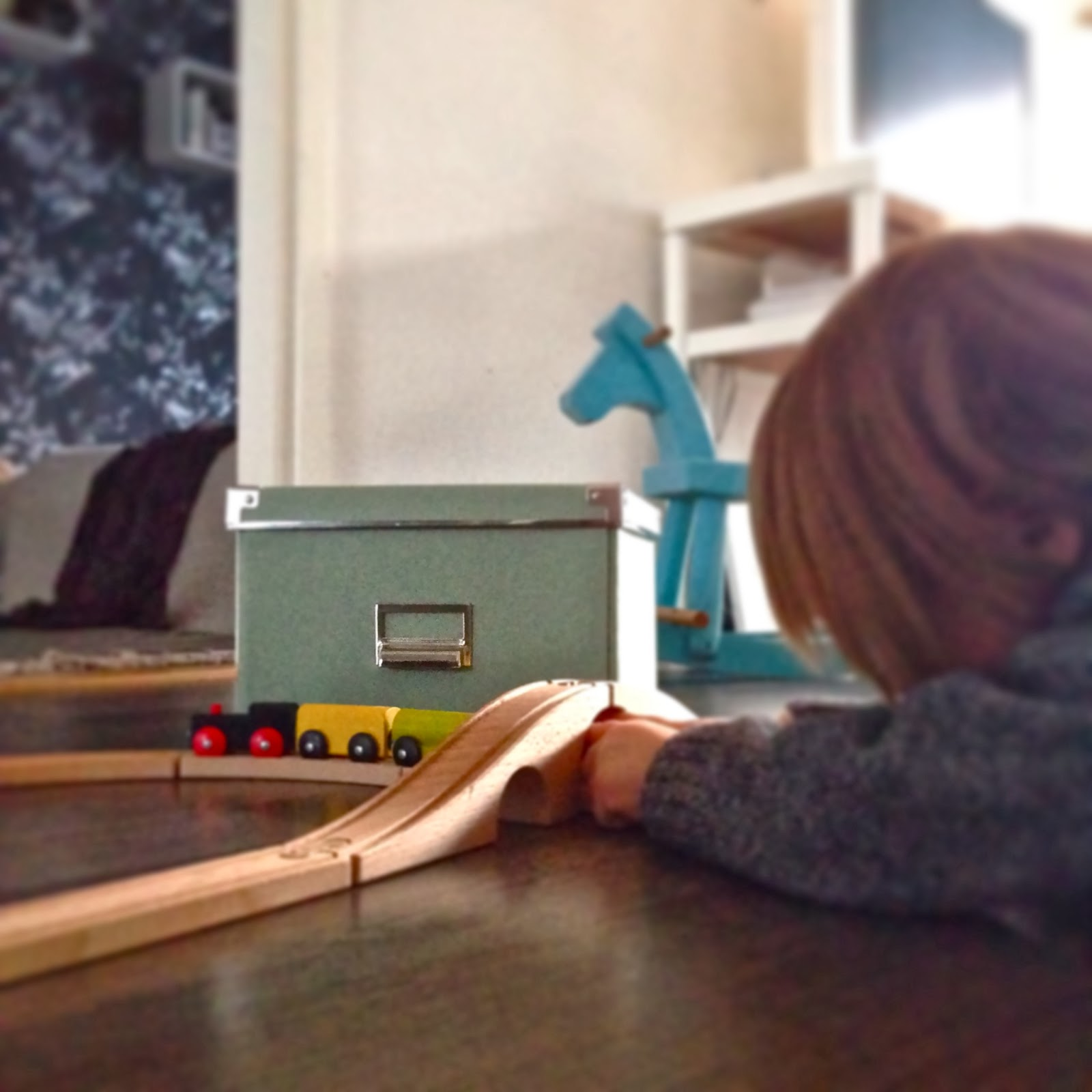 Ikea box, wooden train, wooden horse