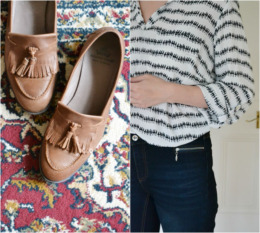 loafers tan college green M&S blouse zip skinny jeans long tall sally autumn collection 2015