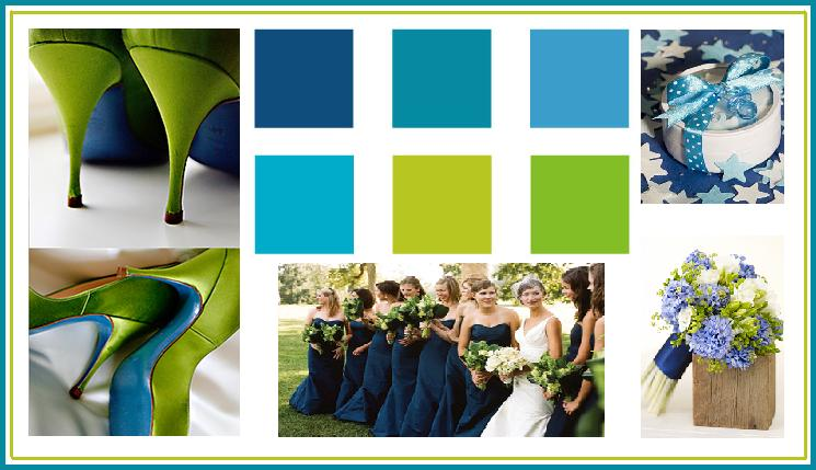 Different Shades Of Blue Accented With Sea Green Colors Make A Perfect  Combination That Sets A Cool And Relaxing Mood To The Wedding. This Color  Scheme Is ...