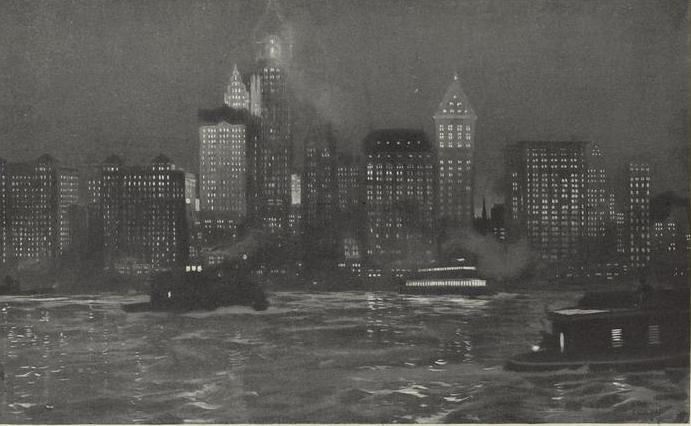 Below the downtown manhattan skyline in 1912 most of these buildings