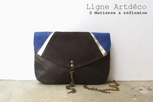 Pochette en cuir vintage bleu Matieres à réfexion