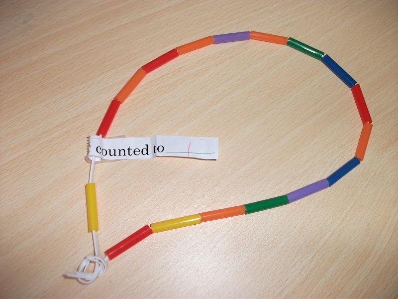 Preschool crafts for kids bead necklace counting craft for Necklace crafts for kids
