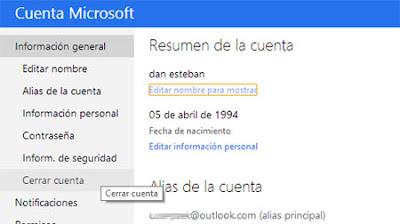 cerrar cuenta Microsoft