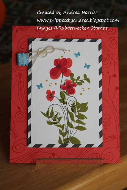 Card made with Abstract Flower and Vine set from Rubbernecker Stamps.