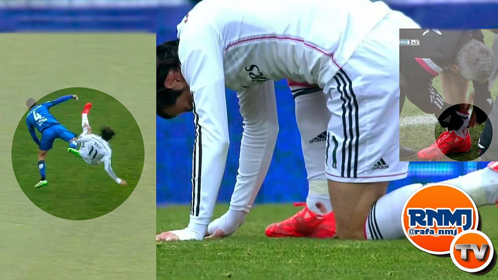 Tobillo de Gareth Bale ensangrentado tras la patada de Velázquez del Getafe