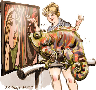 Picasso and a chameleon is a cartoon by artist and illustrator Artmagenta