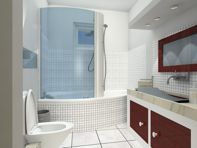 Pisos Para Baño Modernos:Small Modern Bathroom Design Idea