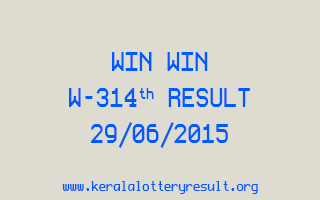 WIN WIN W 314 Lottery Result 29-6-2015