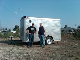 Ecology staff Stan Rauh and Greg Hannahs with the mobile monitor.