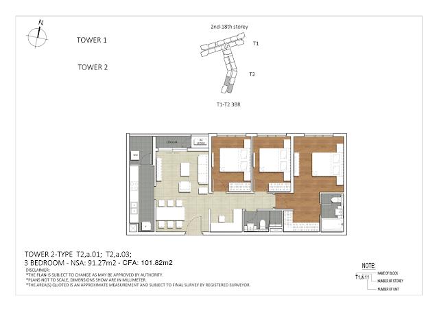 Căn hộ 3 phòng ngủ rộng 91.27m2 của dự án căn hộ The Krista