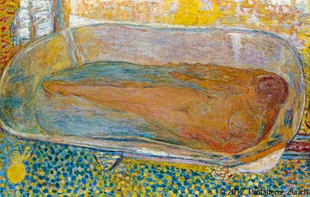 peinture du peintre Bonnard Titre La grande Baignoire en 1937 couleur vive mosaique bleu jaune femme nue dans une baignoire ART
