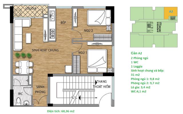 Căn hộ A2 diện tích 60,36 m2 tầng 3 Valencia Garden