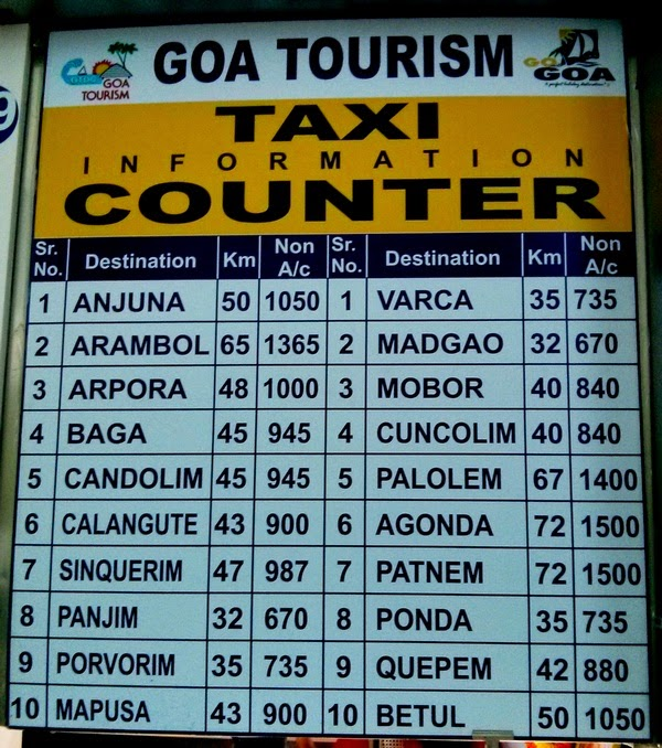 Travel And Food Tales Goa Dabolim Airport Taxi Fare And