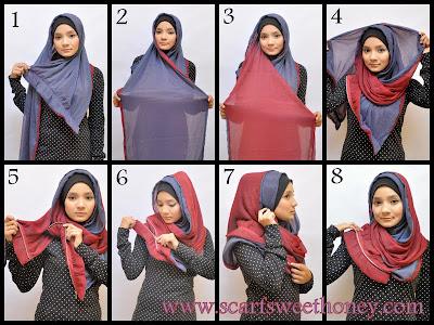 Gambar Cara Memakai Kerudung Hijab Cantik Modern Terbaru Gambar Cara Memakai Jilbab Model Terbaru